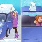 Čiščenje snega iz avtomobila vam povzroča težave.