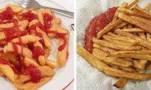 Pomfrit - kečap na ali ob strani